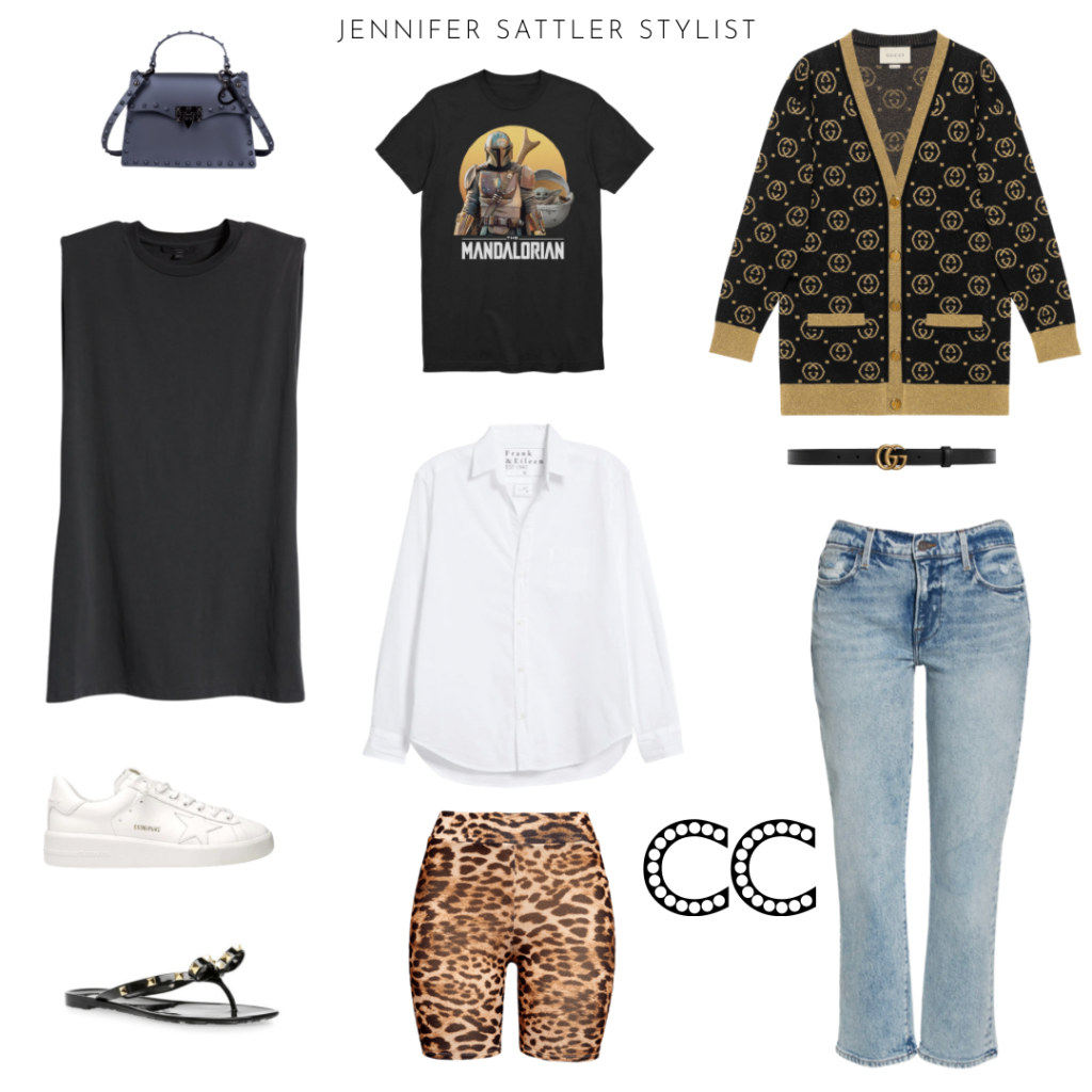 fashion forward wardrobe capusle gucci cardigan t shirt dress bike shorts  jelly shoes jelly bag golden goose sneakers white button up gucci belt